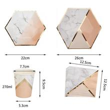 Marble Texture Paper Disposable  Party Tableware