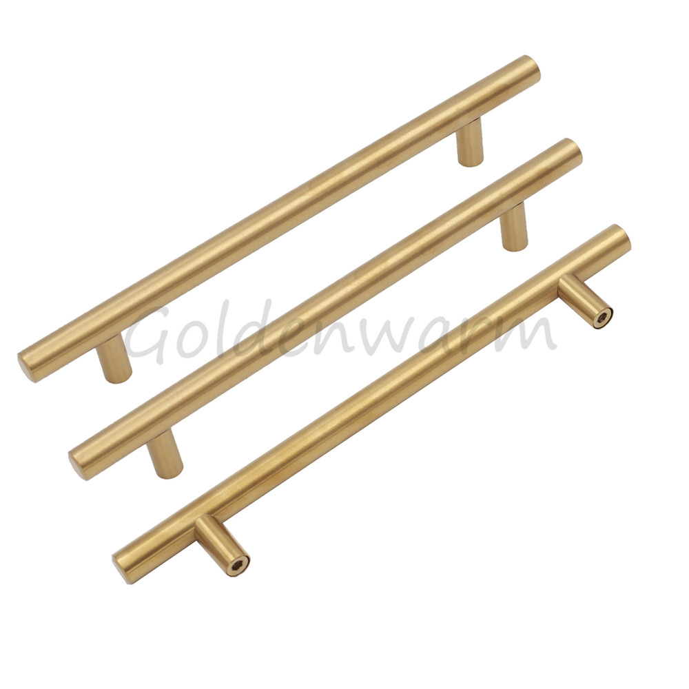 Gold Brushed Brass Cabinet Handles T Bar Modern Cupboard Kitchen Closet Door knob Drawer Pulls Hole Center 6-1/4 inch