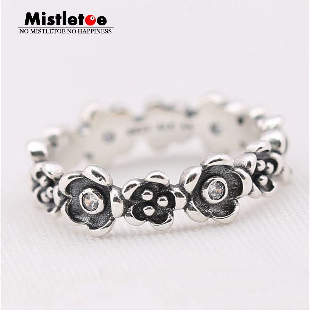 Genuine 925 Sterling Silver Flowers Ring With Clear CZ Compatible with European Jewelry