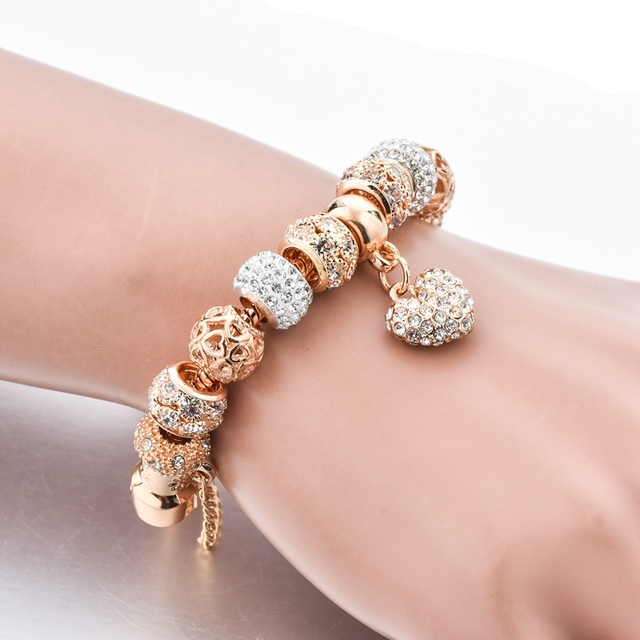 ATTRACTTO Luxury Crystal Heart Charm Bracelets&Bangles Gold Bracelets For Women Jewellery Pulseira Feminina Bracelet Sbr170020