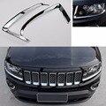 ABS Párpado Ceja Lámpara Frontal Head Light Ajuste de La Cubierta Para Jeep Compass 2011 2012 2013 2014 2015 2016 [QPA323]