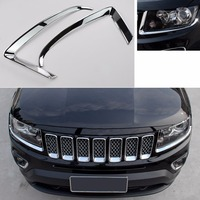 ABS Front Lamp Eyebrow Head Light Eyelid Cover Trim For Jeep Compass 2011 2012 2013 2014