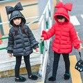 2017 Novas Crianças Jaqueta de Inverno Meninas Pérola Arco Sopro Saia Estilo Com Capuz Grosso Outerwear Parkas crianças inverno outerwear casuais