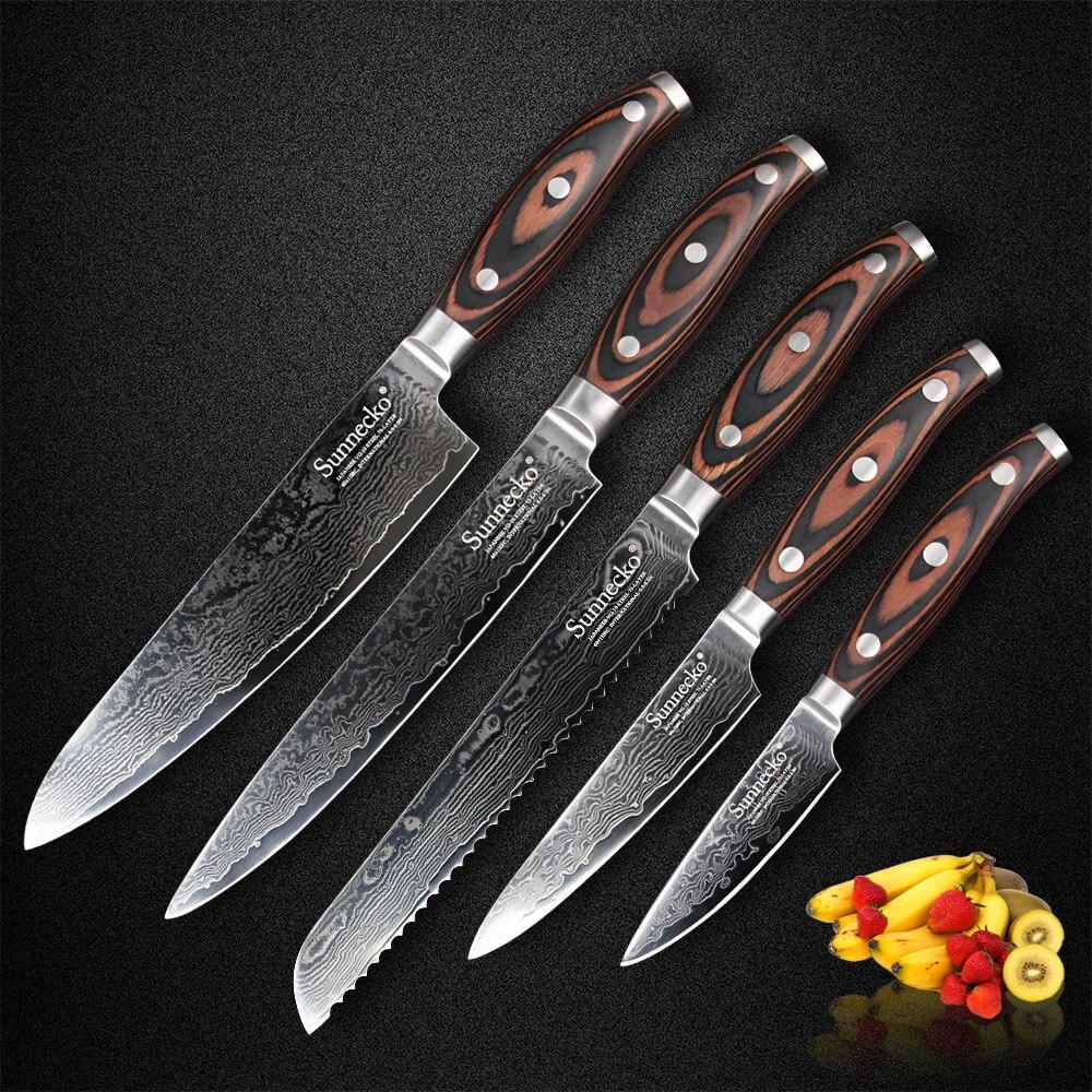 SUNNECKO 5 PCS Damas Couteaux de Cuisine Ensemble Japaness VG10 Acier Lame Chef Trancheuse Utilitaire À Éplucher Couteau À Pain Pakka Manche En Bois