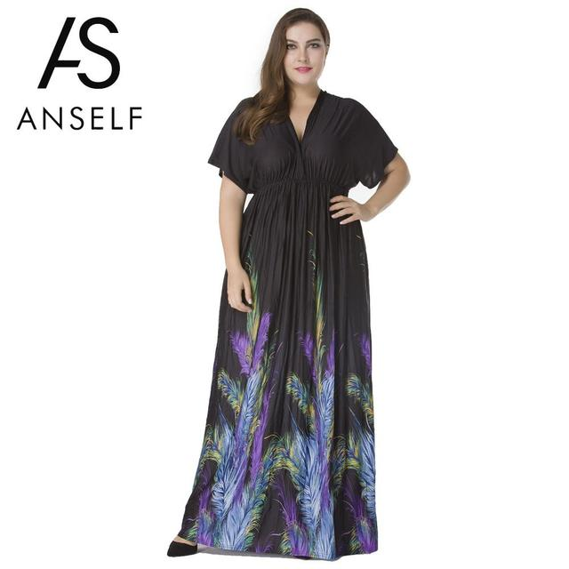 ANSELF Autumn 5XL 6XL Plus Size Dresses Women Maxi Dress Plunge V ...