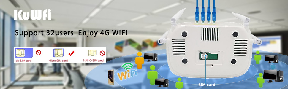 300Mbps Unlocked 4G LTE Wifi Router, Indoor 4G Wireless CPE Router with 4Pcs Antennas and LAN Port&SIM Card Slot Up to 32users 4G Wifi CPE Router (9)