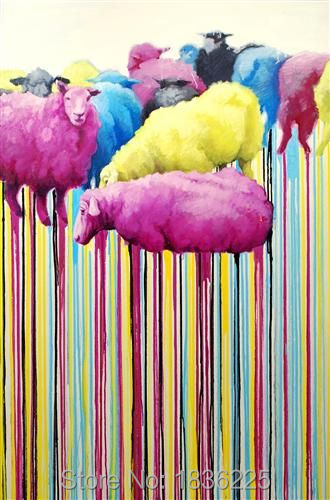 Cheap Price High Quality Modern Pop Animal Oil Painting Artist Handmade Light Colour Lovely Sheep Oil Painting On Canvas gold metal duvar saati