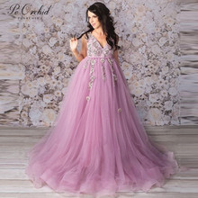PEORCHID 2019 Sleeveless Tulle Long Evening Dresses For Women Pregnant Photography Special Occasion Lace Formal Gowns