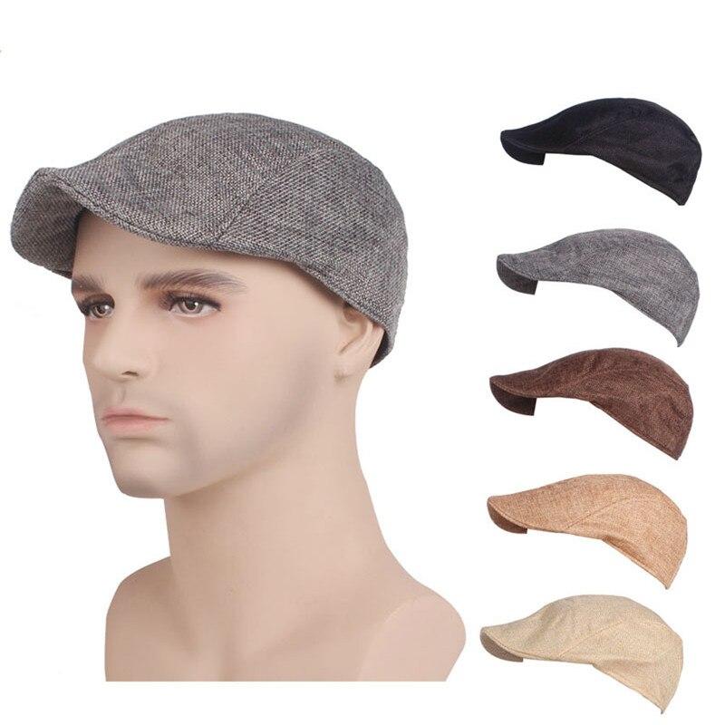 Newsboy Models Berets Flat Caps Autumn Winter Fashion Design Gentleman Linen Cap Solid Color Director Hat