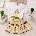 Kindstraum 2016 Novos Grils Conjuntos de Roupas 2 pcs T-shirt + Topos Vestido de Verão 3 Cores Princesa Saia Terno Criança Roupa para As Crianças, MC079