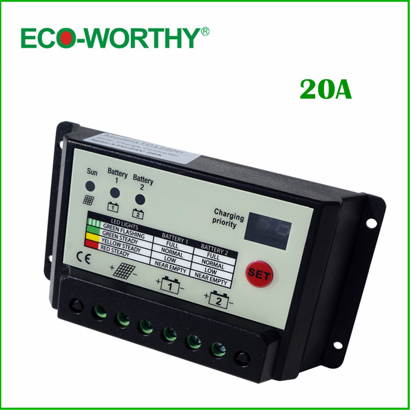 ФОТО ECO-WORTHY 20A 12/24V Dual-cell Solar Charge Controller,High charging efficiency, tandem PWM charge mode