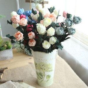 Image 3 - 6 Heads / Bouquet Rose Decor Artificial Flower Home Decor Imitation Fake Flower for Garden Plant Desk Decor Hand Holding Flower