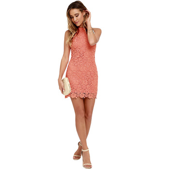 Candy Red Halter Lace Details Mini Dress with Zip Design