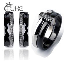 Juegos de joyas de compromiso de acero inoxidable para mujer, de una fila, cristal de CZ, nunca pierde Color, pendientes de tuerca de cerámica, anillos regalos