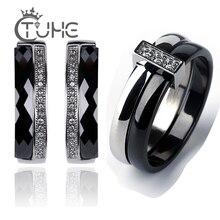 Nieuwe Rvs Engagement Sieraden Sets Voor Vrouwen Dame Een Rij Cz Crystal Nooit Verliezen Kleur Keramische Stud Oorbellen Ringen geschenken