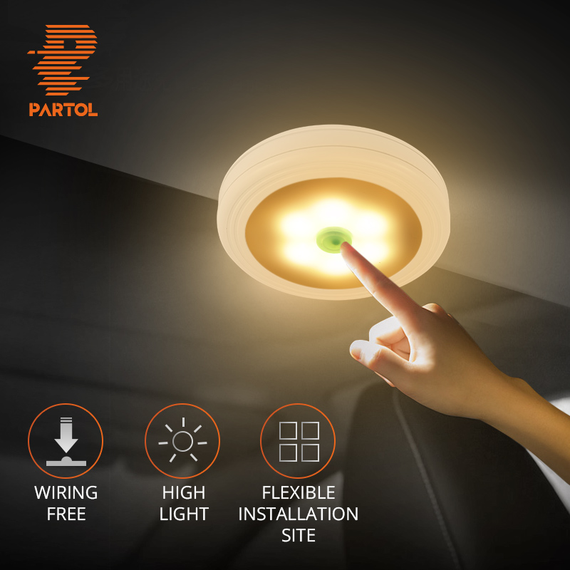 Partol Mini 0.3W Car LED Reading Light Portable Book Lamp LED Bulb Yellow White Light Color for Bedroom Rest Room Closet Cabinet cnsunnylight led car reading light interior luggage door lamp free refit portable emergency light for car home office bedroom