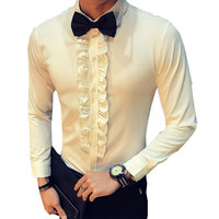 Retro Shirt Men Wedding Party Ruffle Vintage Shirt White Men Black Chemise Homme Slim Fit Shirt Asian Fasion Stage Clothing