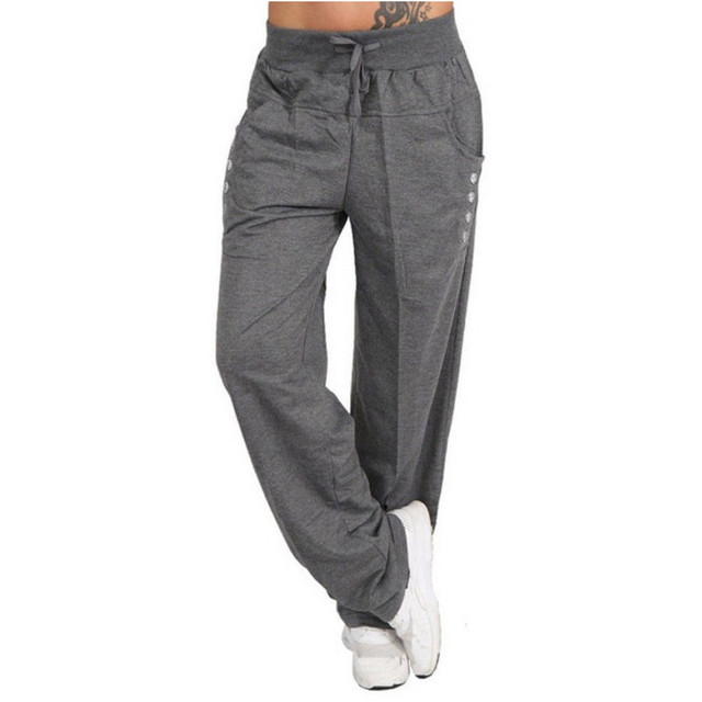 14edcd841a Womens Autumn Winter Wide Leg Sports Loose Casual Long Pants Trousers High  Waist Casual Loose Trousers femme c0304