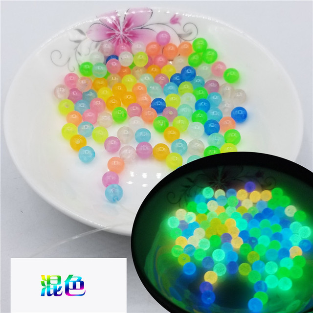 200Pcs 6-12mm Glow In The Dark Fishing Loose Beads For Woman Men Luminous Locket Necklace DIY Jewelry Making Acrylic Beads