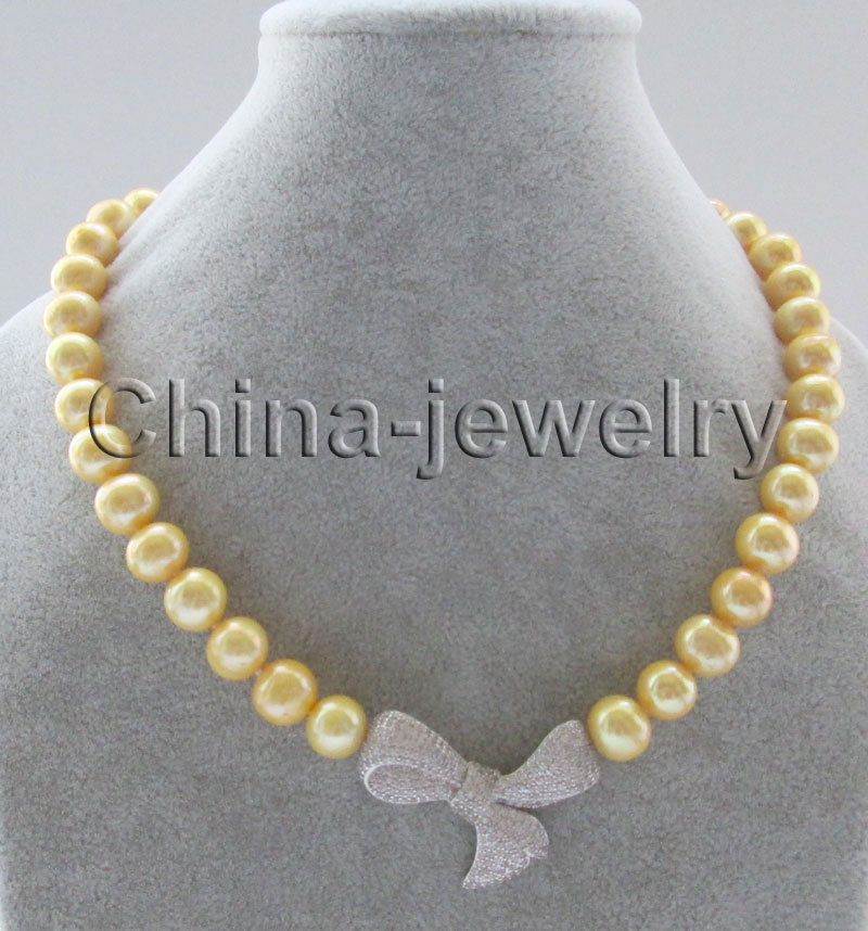 P7341 18 10 11mm natural gold round freshwater pearl necklace Bowknot pendant