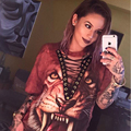 Сексуальная Майка Женщин 2017 Новая Мода Punk Rock Дизайн Моды животное Печати Хэллоуин Кружева V шеи Женщин Топ Рубашки Женщины топы