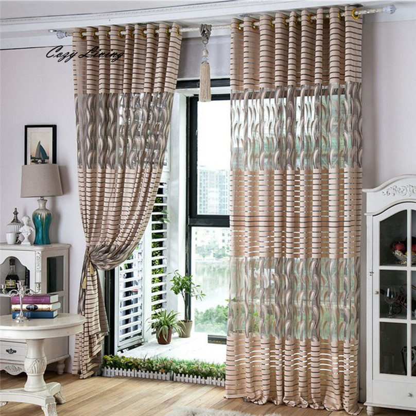 Curtain 100x200cm Striped Feather Window Screens Door Balcony Curtain Panel  Sheer Cover Fancy Window Curtain Wholesale D6 In Curtains From Home U0026  Garden On ...