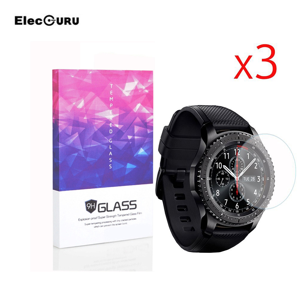 Elecguru 3 pack for Samsung Gear S3 Screen Protector Tempered Glass Ultra-thin 2.5D 9H Clear Scratch-proof For Smart Watch Film