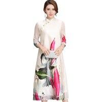 2017 New Summer Women Rayon Ink Print Dress Vintage Elegant Half Sleeve Long Dress Plus Size