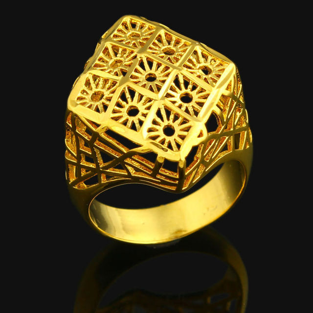 Wedding Exquisite Gold Ring 24k Gold Color Ring Jewelry India