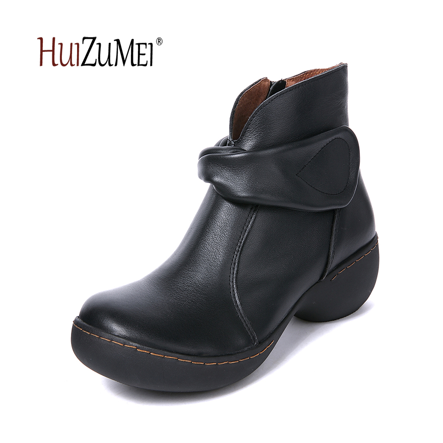 HUIZUMEI autumn and winter new genuine leather boots women round toe handmade retro ankle boots for women autumn and winter new ladies genuine