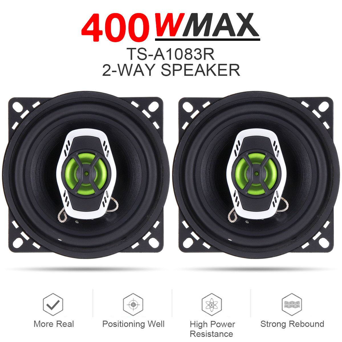 Loud Speakers Audio Hifi Stereo 10cm Full-Range 4inch Frequency Music 400W 2pcs 2-Way