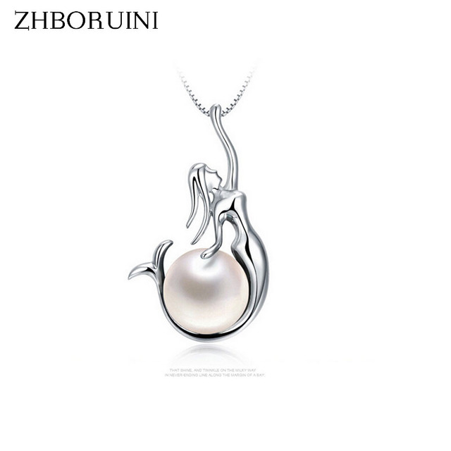007adc9d63c828 ZHBORUINI 2019 Fashion Pearl Necklace Pearl Jewelry Genuine Natural Pearl  Pendant Mermaid 925 Sterling Silver Jewelry