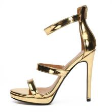 Sexy Sandals Wedding-Shoes Ankle-Straps Red Heels Gold Fashion Women Party 48 50 Large-Size