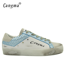 CANGMA Newest Sneakers Men Casual Shoes White And Sky Blue For Man Breathable Genuine Leather Flats Male Suede Adult Bass Shoes