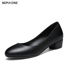 NEMAONE Woman Shoes Spring Autumn cow Leather 3cm Low Heels Women Pumps Women Office Shoes Women's Footwear Wedding Shoes