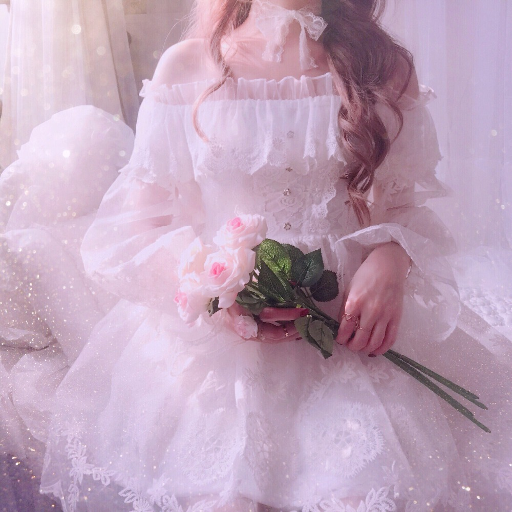 Princess sweet lolita dress BoBON21 fairy dress full lace embroidery yarn heavy Eugen fairy dress women D1590 maternity clothing spring twinset lace fairy princess wedding one piece dress white embroidery dress full dress summer