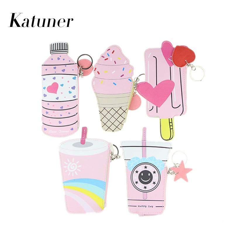 Katuner Cartoon Women Coin Purse Kawaii Ice Cream Pouch Cute Wallet Children Girls Bag Purse For Keys Porte Monnaie KB040