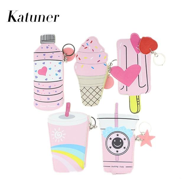 katuner cartoon women coin purse kawaii ice cream pouch cute wallet