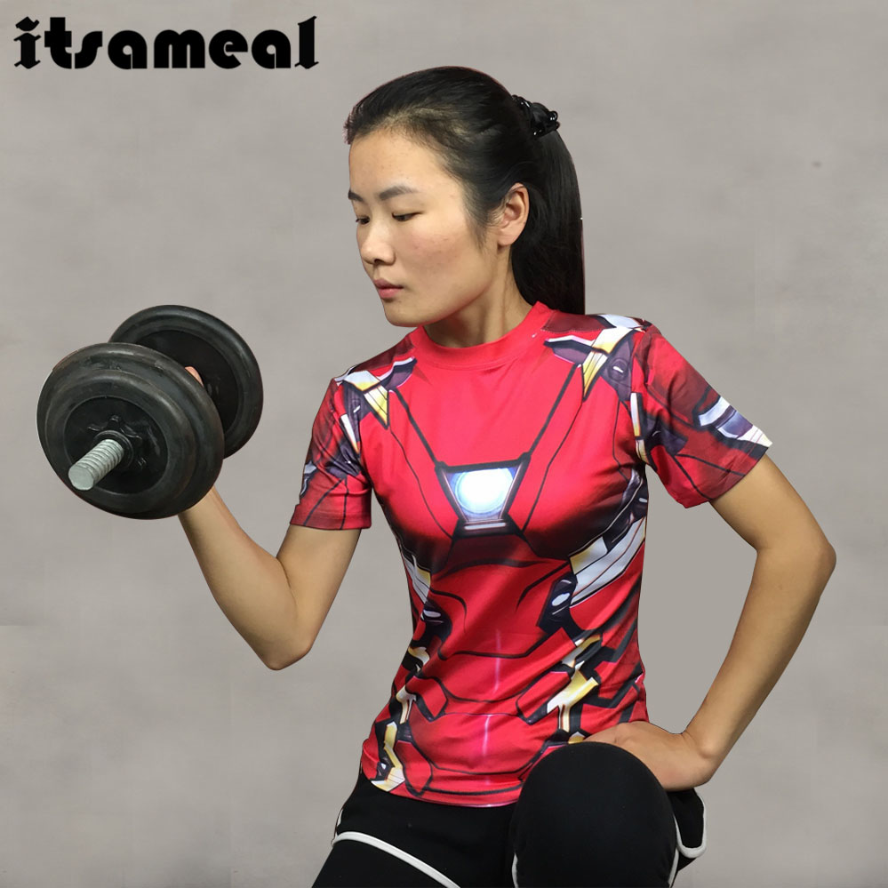 Compression Shirt Iron Man 3D Printed T-shirts Women Slim Short Sleeve Captain America Cosplay Costume For Ladies Tops Female