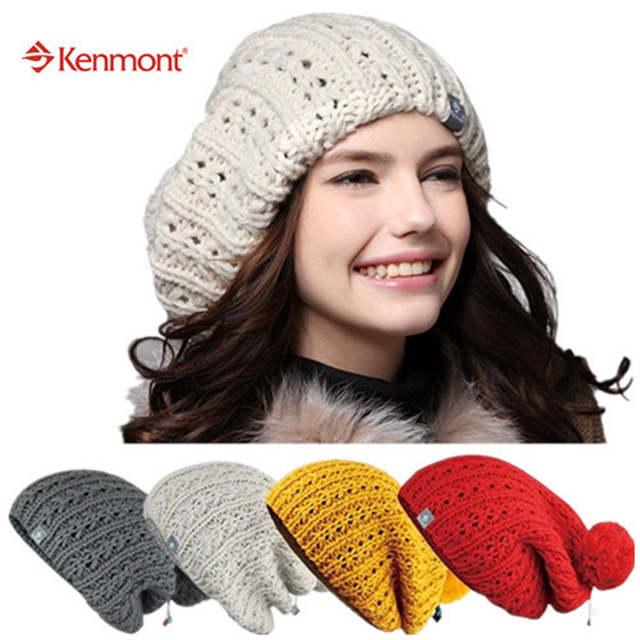 2098fd51d35 Online Shop New Kenmont Winter Autumn Women Caps Hats Of Beige Red Yellow  100% Hand Knit Icelandic Wool Beanie Fashion 1149
