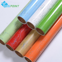 60cmX10m Thick Laser Flower Pattern Wall Paper Rolls PVC Self Adhesive Films Black DIY Stickers For