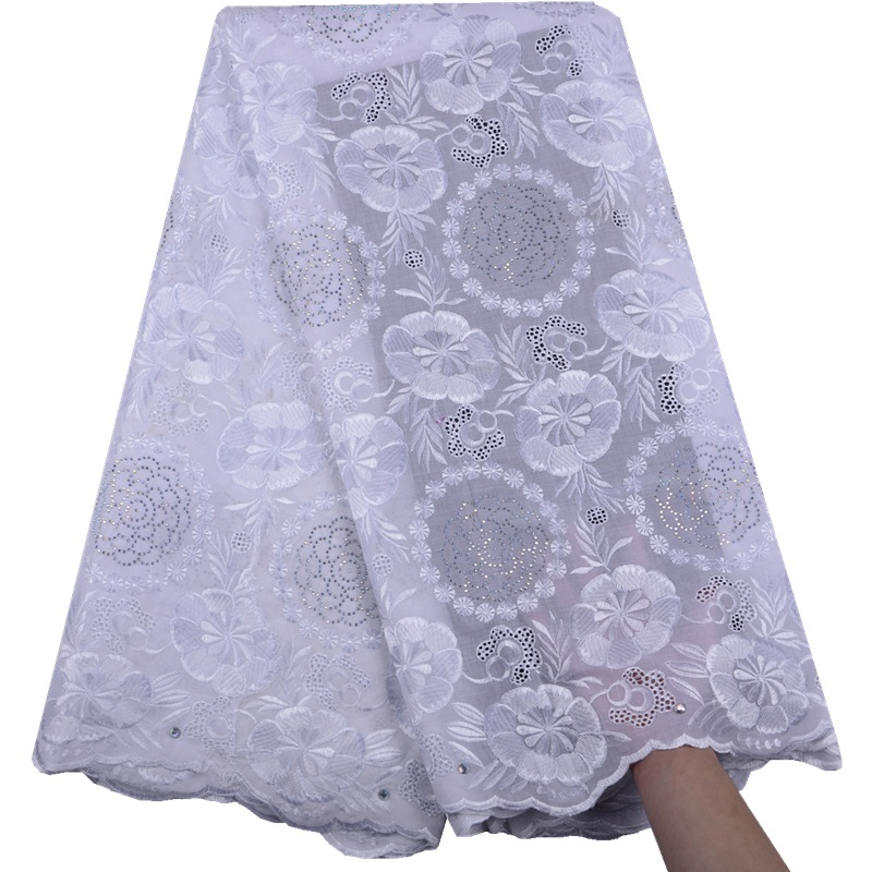 African Dry Lace Fabric Swiss Voile With Stones Swiss Cotton Lace High Quality 2019 White Lace Fabrics For Wedding Dress A1517-in Lace from Home & Garden    1
