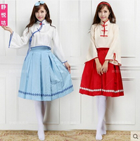 New VOCALOID Cos VFamily Cosplay Luo Tianyi Yue zheng Ling Halloween Spring Woman Cheongsam Set Full Set 3in1(Top+Skirts+Headwea