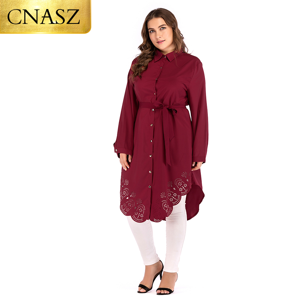 Long Sleeves Muslim Clothing  Soft Polyester Fabric Plus Size 6xl With Belt For Women Blouse Top