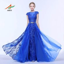 d37deb109afc ANTI Royal Blue Mermaid Abito Da Sera O-Collo Del Merletto Due Pezzi Telai  Abiti Formali Per La Festa Nuziale Celebrity Dress Gu.