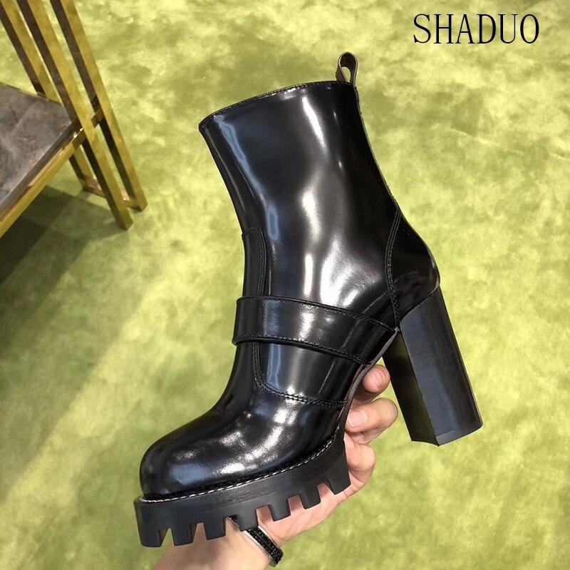 2018 shaduo 버클 부츠와 함께 두꺼운 최고 품질의 소 가죽 특허 가죽 방수 플랫폼 하이힐 지퍼 오토바이 신발-에서앵클 부츠부터 신발 의  그룹 1