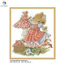 A Mouse Picking Mushrooms Aida Cross Stitch Kit 14ct 11ct Co