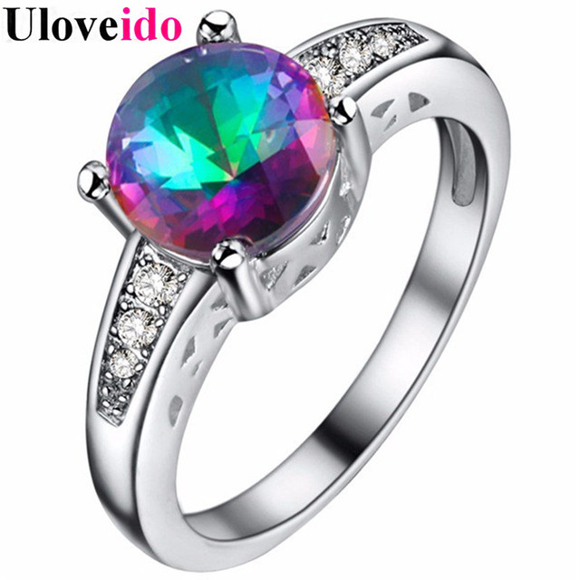 uloveido rainbow cubic zirconia ring vintage wedding rings for women engagement ring crystal jewelry dropshipping 5 - Rainbow Wedding Rings