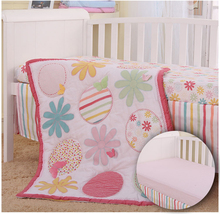 4 pieces Crib Infant Room Kids Baby Bedroom Set Nursery Bedding Car Animal Floral cot bedding set for newborn babies