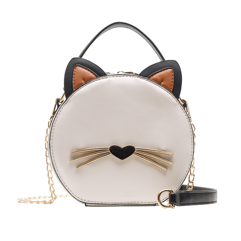 Fashion Women's Round Bag Leather Women's Round Crossbody Bag Shoulder Cute Cat Women's Wallet Women's Bolsa Handbag